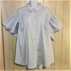 Lane Bryant Button Up Striped Top Flutter Sleeves